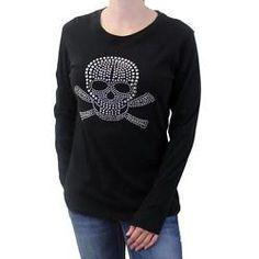 Women's Black Long Sleeved Shirt w/ Studded Skull & Crossbones Design PLB052
