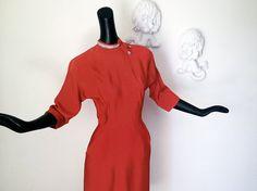 Vintage 1940s Rayon Dress Rockabilly 40s Dress by elliemayhems, $109.00