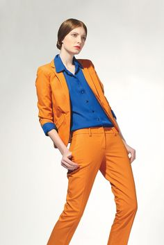 Cabe's cotton blazer and trousers and silk blouse...love the color combo
