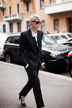 Kate Lanphear street style fashion - No one does androgynous looks as well as she does! #girlcrush