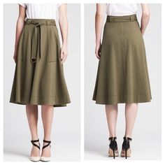 """Hi Waist Skirt This limited edition Heritage Collection sits at the natural waist. High waist fit. Banded waist. Belt loops. D-ring belt. Front patch pockets. Exposed back zip. Skirt length 30"""". Dry clean only. 5% Spandex, 28% Nylon, and 67% Rayon Banana Republic Skirts Midi"""