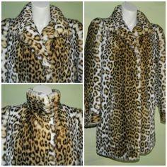 M L 70s / 80s Glam Faux Fur Meow Leopard Print Coat by wyogems