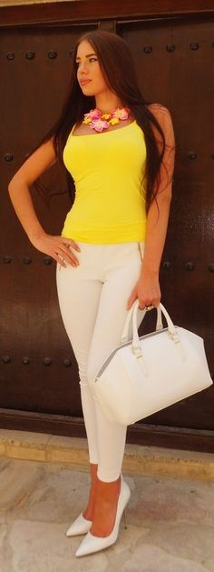 Yellow And White Streetstyle by Laura Badura Fashion. Yellow top blouse. women fashion outfit clothing style apparel @roressclothes closet ideas