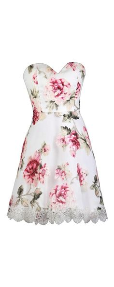 c009c3f648d Lily Boutique Rose Garden Floral Print Strapless Dress