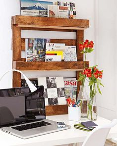ORGANIZADOR DE LIBROS HECHO CON PALETS (diy wood pallet home office) #decoracion #ideas #reciclar