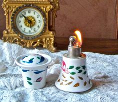 Vintage Cigarette Lighter Hand Painted Porcelain by cynthiasattic, $29.00