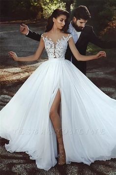 Buy discount Graceful Tulle & Chiffon Jewel Neckline A-line Wedding Dress With L. , Buy discount Graceful Tulle & Chiffon Jewel Neckline A-line Wedding Dress With L. Wedding Dress Chiffon, Muslim Wedding Dresses, Princess Wedding Dresses, Perfect Wedding Dress, Cheap Wedding Dress, Lace Dress, Lace Wedding, Lace Chiffon, Wedding Dresses With Slit