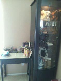 Craigslist finds ($10 Vanity & $30 Curio) New make up display & purse storage, love the purse storage