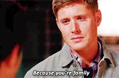 """[gif] """"Because you're family."""" - Dean #Supernatural #DevilMayCare 9.02"""