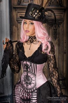 Pink Charmed Pocket watch corset, size 10 #__tab1:size-guide-ubvic