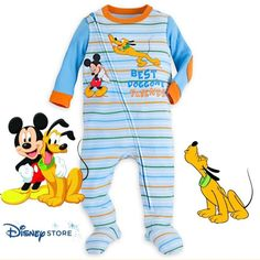 194d13295 Disney Store Mickey Mouse and Pluto Stretchie Organic Sleeper - Baby Boy 9-12M  #