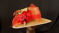 Wheat Straw Hat Trmmed in Red by HatTrix on Etsy Wheat Straw, Shades Of Red, Grosgrain, Shapes, Make It Yourself, Etsy, Hat