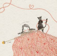 knitting love with my cat. / by 초록담쟁이 Illustration Art Drawing, Children's Book Illustration, Cartoon Drawings, Cute Drawings, Cute Kids Crafts, Creation Photo, Korean Artist, Whimsical Art, Cat Art