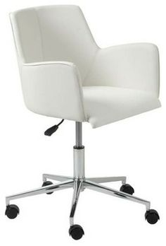 Eurostyle Sunny Swivel Office Chair in White Leatherette & Chrome - Modern - Task Chairs - Beyond Stores