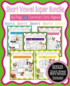 This is a bundle of my Short A, Short E, Short I, Short O, and Short U No Prep Packets.  It includes the following pages for each of the 5 short vowel sounds:*Short Vowel Word Families (practice writing and reading words in different short vowel families)*Short Vowel Stories - 5 Short Vowel Stories to illustrate, cut, and staple*Short Vowel Games - Players move their pieces through game boards containing short vowel words.*Short Vowel Go Fish (5 games)*Short Vowel Cut and Paste - Glue the…
