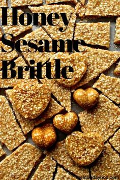 Honey Sesame Brittle is a delicious homemade treat! Quick and easy to make, this shiny brittle is crunchy, toasty and sweet. Shape the brittle in candy molds or pour in one piece and break into bite size snacks. Sesame Seeds Recipes, Honey Recipes, Sweet Recipes, Sesame Brittle Recipe, Brittle Recipes, Healthy Eating Recipes, Snack Recipes, Healthy Snacks, Honey Candy