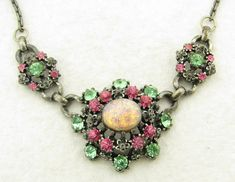 Vintage Coro Signed Faux Jelly Opal Foil Glass Rhinestone Necklace