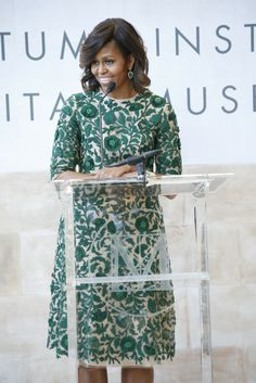 Michelle Obama in Naeem Khan. [Photo by John Aquino]