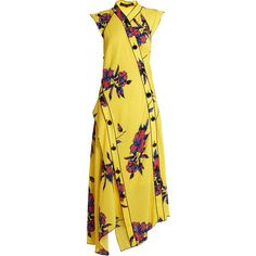 Proenza Schouler Lily-print asymmetric silk-crepe dress ($1,565) ❤ liked on Polyvore featuring dresses, yellow multi, graphic print dress, proenza schouler dress, yellow dress, button dress and lily dress