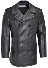 Schott NYC Mens 140 Naval Peacoat in Naked Leather