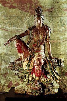 宋辽观音木雕 壁画广胜寺 Japanese Monster, Buddha Painting, Thai Art, Guanyin, Buddhist Art, Antique Art, Ancient Art, Sculpture Art, Statue