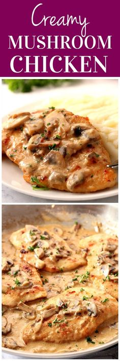 Creamy Mushroom Garlic Chicken Recipe - juicy chicken in creamy. Creamy Mushroom Garlic Chicken Recipe - juicy chicken in creamy garlic mushroom sauce served with mashed potatoes or pasta for a quick and delicious dinner! Chicken Recipes Juicy, Pasta Recipes, Cooking Recipes, Casserole Recipes, Flour Recipes, Dinner Recipes, Bread Recipes, Shrimp Recipes, Lunch Recipes
