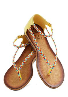 Delight The Way Sandal - Yellow, Multi, Braided, Flat, Faux Leather, Boho, Summer