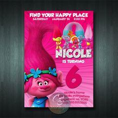 TROLLS BIRTHDAY INVITATION | Digital Item | No item will be shipped