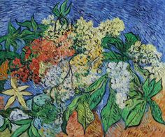 """VG30-Blossoming Chestnut Branches-Vincent van Gogh Repro Oil Painting on Canvas 20x24"""""""