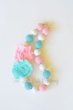 Chunky Bubblegum Beaded Necklace....Pink and Turquoise with Shabby Flowers via Etsy
