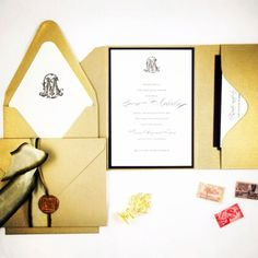 Invitation suite designed by Honey Paper for a Fall Vineyard Wedding. Classic design with golds and creams and a beautiful monogram. www.honey-paper.com