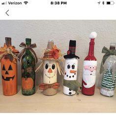 Beer Bottle Crafts, Wine Bottle Art, Painted Wine Bottles, Vodka Bottle, Bottle Lamps, Decorated Bottles, Diy Bottle, Glass Bottles, Halloween Wine Bottles