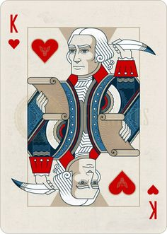 Playing Cards - King Of Hearts, Thomas Jefferson, Founders by the US Playing… Playing Card Tattoos, Hearts Playing Cards, Vintage Playing Cards, Card Companies, King Of Hearts, Deck Of Cards, Cool Logo, Creative Cards, Tarot Cards