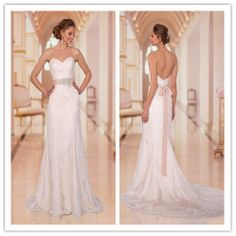 2014 Sweetheart A Line Open Back Lace Wedding Dresses With A Train Wowen Ivory Bridal Gowns With Sash