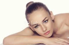Photo: Girl lies on a towel in a spa, putting her hand under her chin Organic Lifestyle, Towel, Spa, Hair Beauty, Skin Care, Stock Photos, Makeup, Image, Make Up