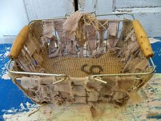 Shabby chic metal basket with burlap and by AnitaSperoDesign, $48.00