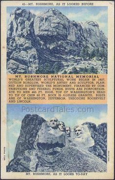 """Classic Old Postcard of Mt. Rushmore """"Before and After""""....Black Hills, SD."""