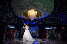 the bride and groom dancing under a starry sky in their reception venue - amazing! Perfect Wedding Dress, Dream Wedding Dresses, Designer Wedding Dresses, Bridal Dresses, Wedding Lighting, Event Lighting, Color Crafts, Globe Lights, Flower Decorations