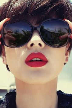 Pixie cut with Bangs! Red Lipstick!