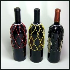 Three different colors - yellow, red, sparkle brown Czech Seed Beads and glass Pearls What a great way to dress a wine bottle! Create the extraordinary out of the ordinary and accentuate a specia...