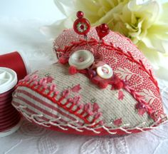 Heart Patchwork Quilt Pincushion by fiberluscious on Etsy