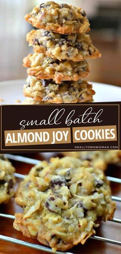 This dessert idea can be baked and frozen ahead of time! Small Batch Almond Joy Cookies are simply amazing. With a perfect blend of coconut, semi-sweet chocolate, and sliced almonds, these delectable treats will be a new favorite! Pin this easy recipe for later! Easy Cookie Recipes, Cookie Desserts, Baking Recipes, Sweet Recipes, Dessert Recipes, Dessert Ideas, Fun Desserts, Yummy Recipes, Recipies