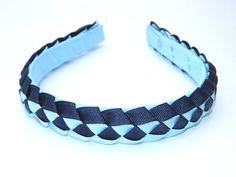 Navy & Light Blue Braided Headband - School Uniform Headbands, Navy and Light Blue School Uniform Hair Bow School Uniform Accessories, Hair Accessories, First Communion Veils, Light Blue Hair, Thing 1, Grosgrain, Hair Bows, Headbands, Your Hair