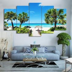 5 Piece Beach Seascape Canvas Wall Home Decoration We have 2 options for this painting-- With Framed, Or No Framed. A/ With Framed means the painting has been stretched on a wood frame, ready to hang B/ No Framed means canvas only. Beach Canvas Wall Art, Canvas Art, Beach Mural, Blue Canvas, Plage Art Mural, Images Murales, Palm Trees Beach, Outdoor Furniture Sets, Outdoor Decor