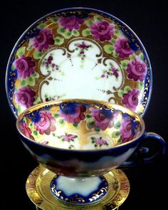 Hand-Painted Demitasse Cup & Saucer ~ Cobalt-Blue with Pink Roses
