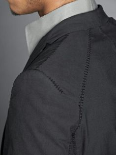 Jacket with seam stitch detail; sewing; tailoring; close up fashion design details // Carol Christian Poell