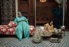 Morocco.Fez.Tea ceremony in the courtyard of a house.1996