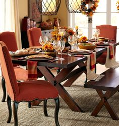 A traditional trestle table gets all  dressed up for the holidays. #diningroom