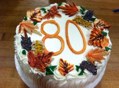 Fall leaves made from buttercream to celebrate a special 80th birthday!