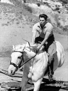 ronald reagan ranch | Ronald W. Reagan Jumping His Horse on Ranch Premium Photographic Print